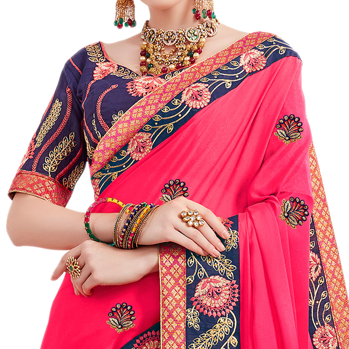 Glowing Fuschia Pink Colored Partywear Embroidered Georgette Saree