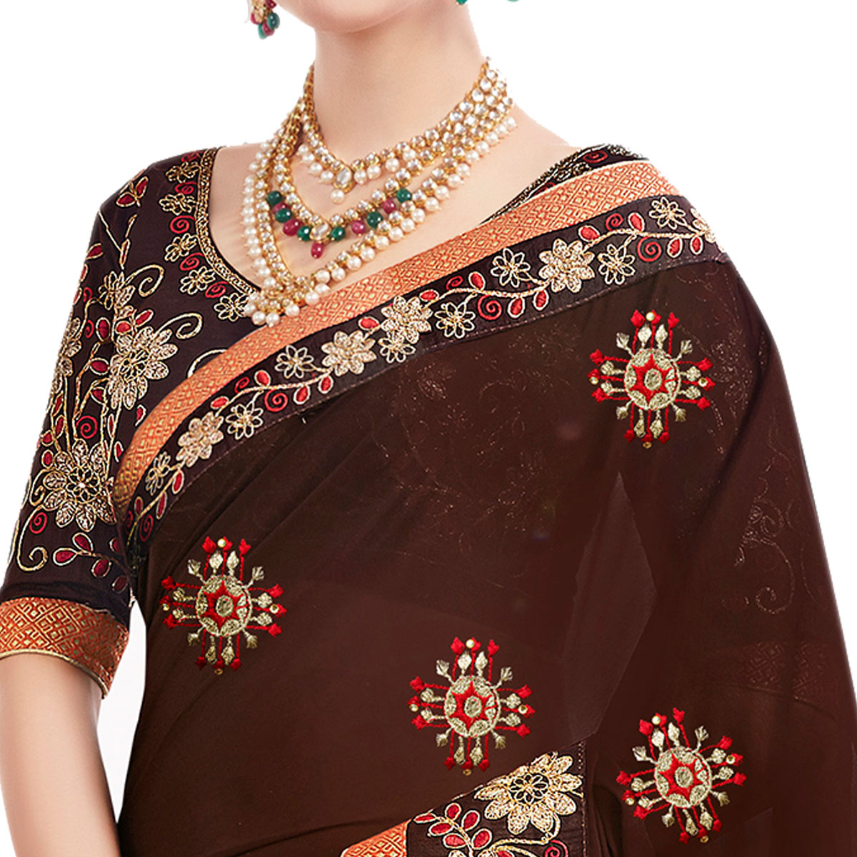 Adoring Brown Colored Partywear Embroidered Georgette Saree