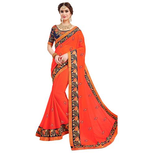 Desiring Orange Colored Partywear Embroidered Georgette Saree