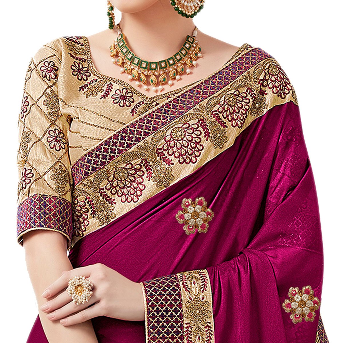 Exceptional Magenta Colored Partywear Embroidered Georgette Saree