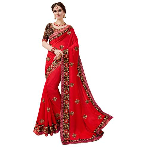Lovely Red Colored Partywear Embroidered Georgette Saree