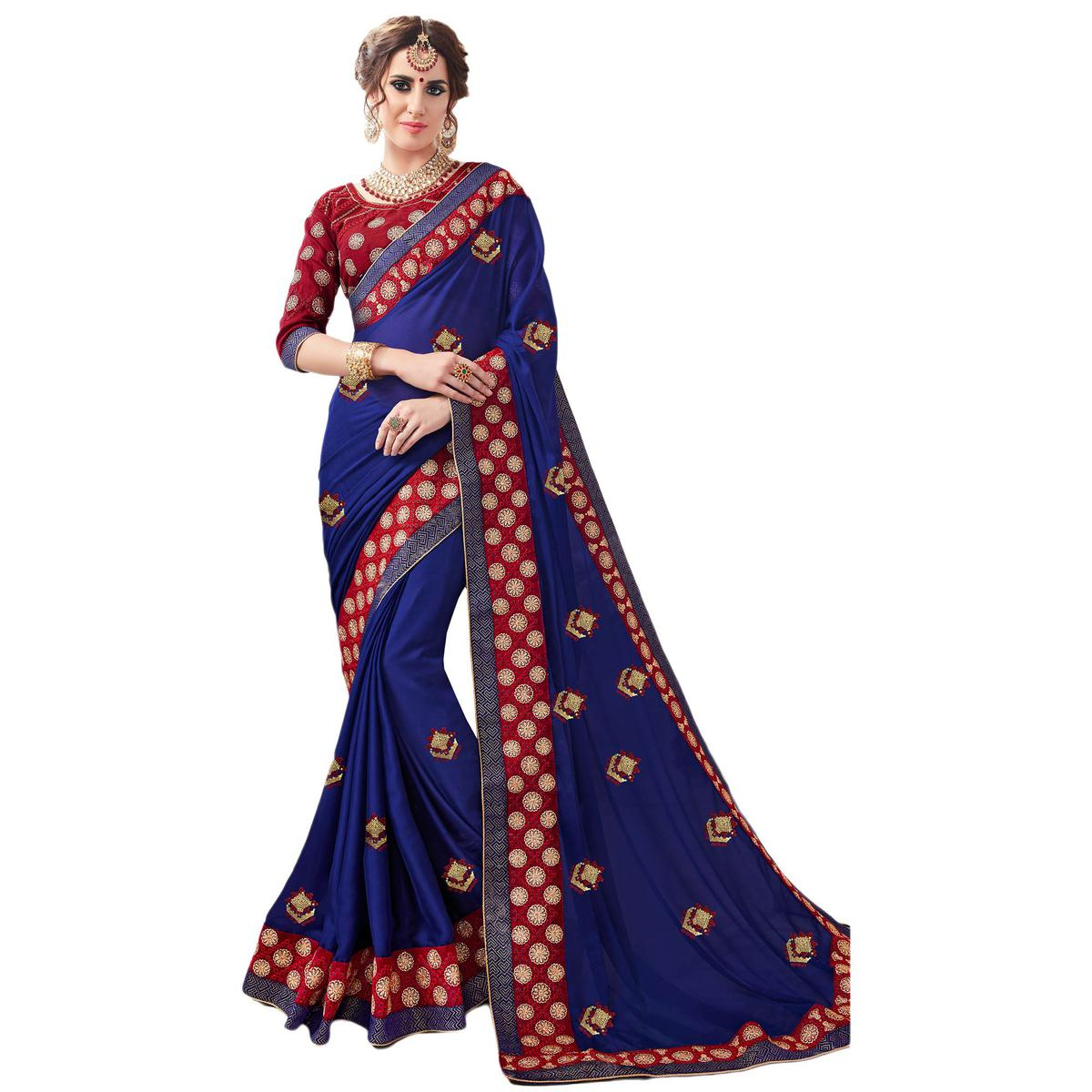 Majestic Navy Blue Colored Partywear Embroidered Georgette Saree