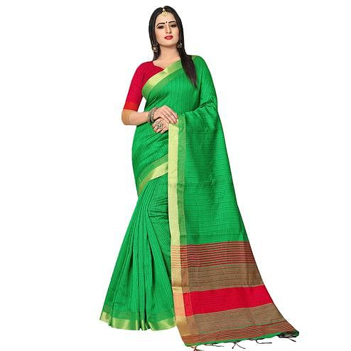 Refreshing Green Colored Festive Wear Kanjivaram Silk Saree