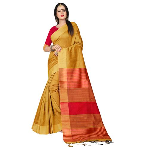 Elegant Yellow Colored Festive Wear Kanjivaram Silk Saree