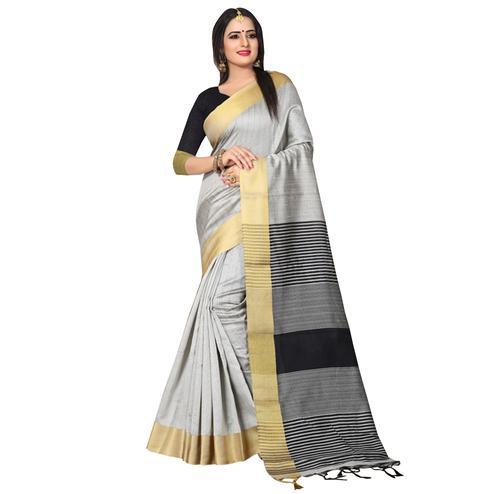 Alluring Grey Colored Festive Wear Kanjivaram Silk Saree