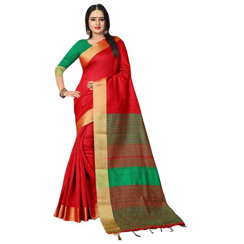 Passionate Red Colored Festive Wear Kanjivaram Silk Saree.