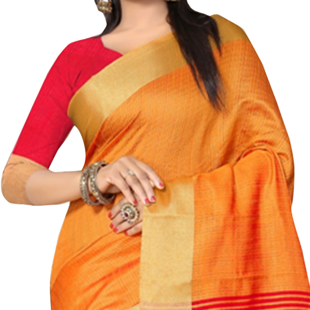 Vivid Orange Colored  Festive Wear Kanjivaram Silk Saree.