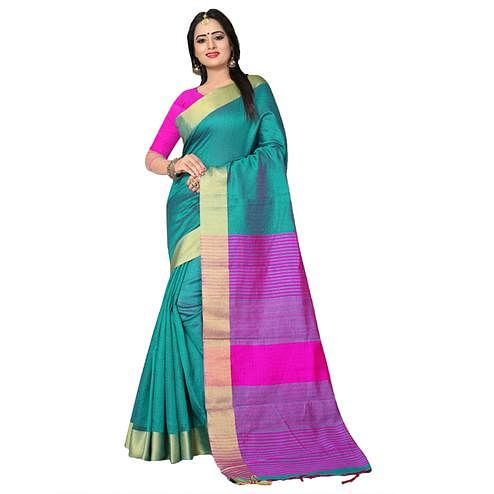 Tranquil Green Colored  Festive Wear Kanjivaram Silk Saree