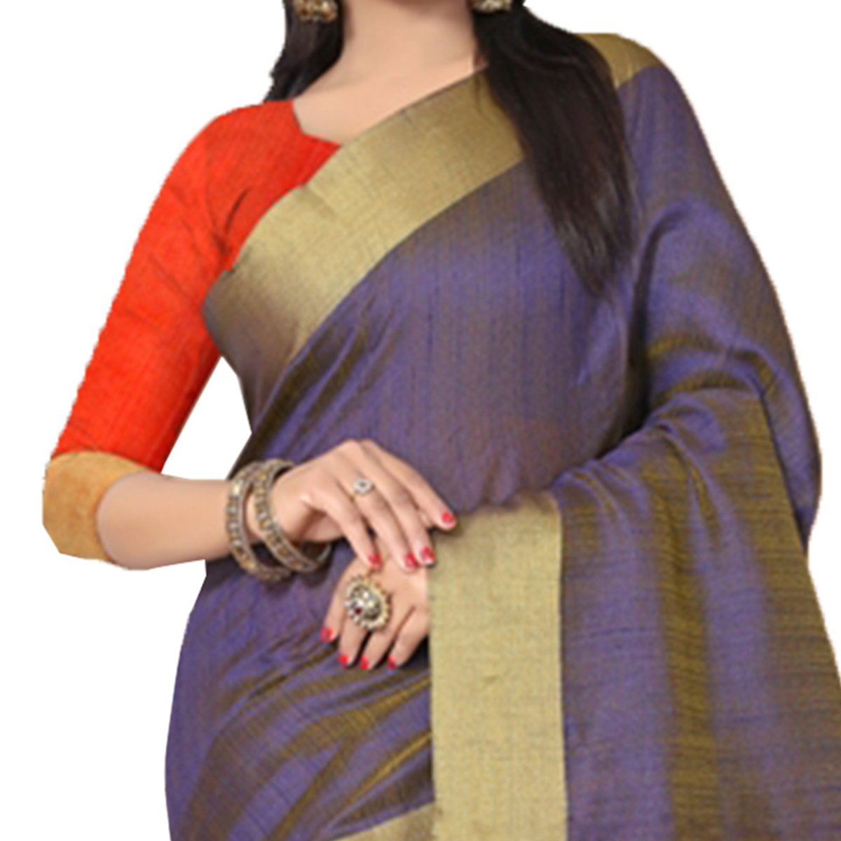 Ravishing Blue Colored Festive Wear Kanjivaram Silk Saree.