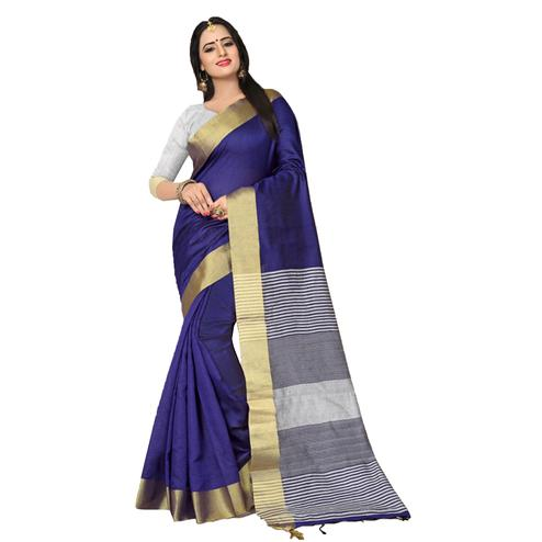Glaring Blue Colored  Festive Wear Kanjivaram Silk Saree.