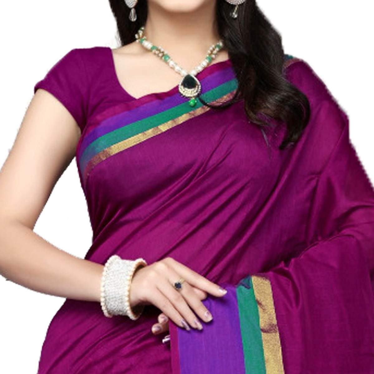 Majestic Magenta Colored Festive Wear Cotton Silk Saree