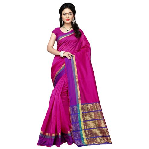 Adorale Pink Colored Festive Wear Cotton Silk Saree