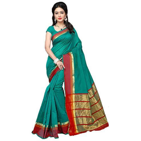 Glorious Green Colored Festive Wear Cotton Silk Saree