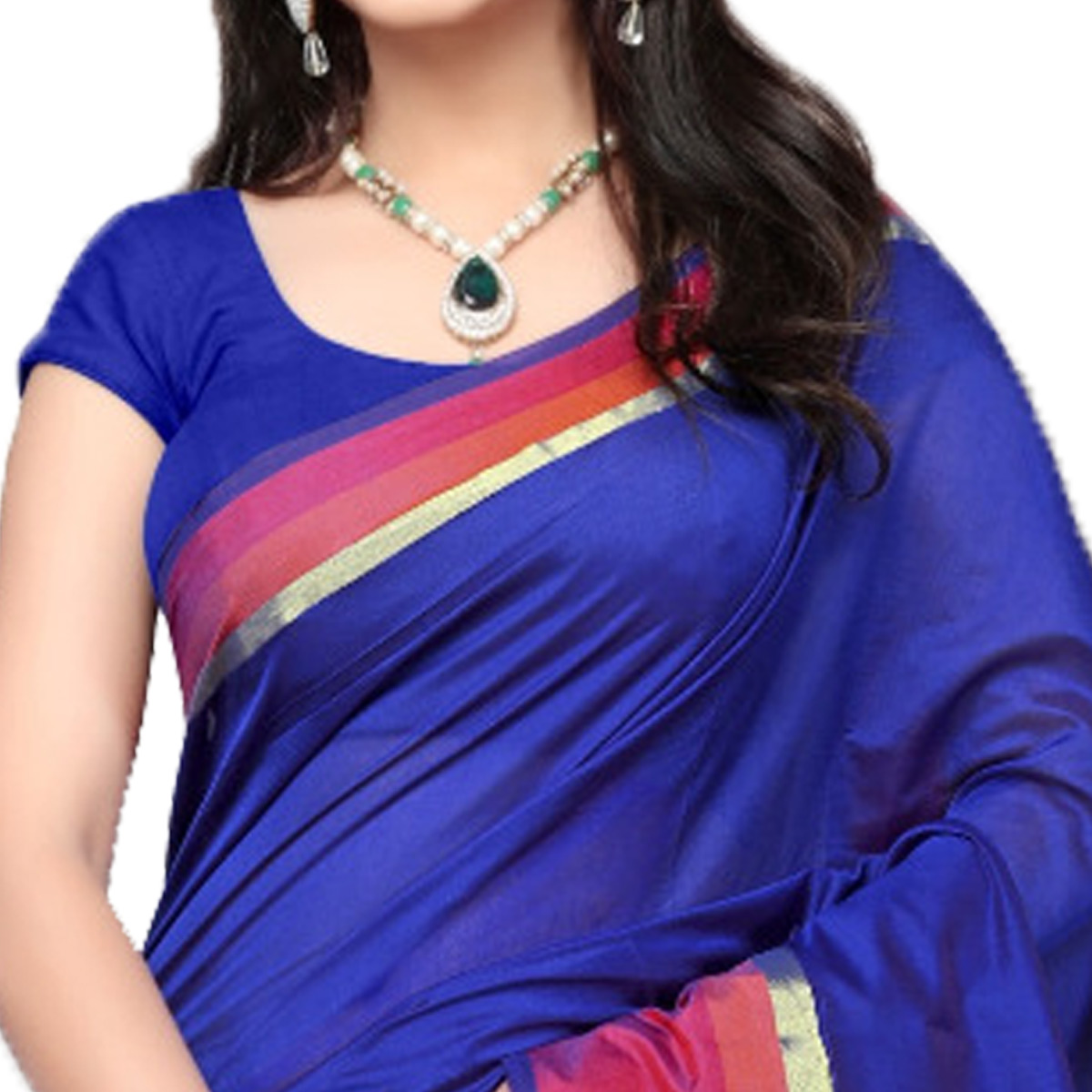 Blissful Blue Colored Festive Wear Cotton Silk Saree