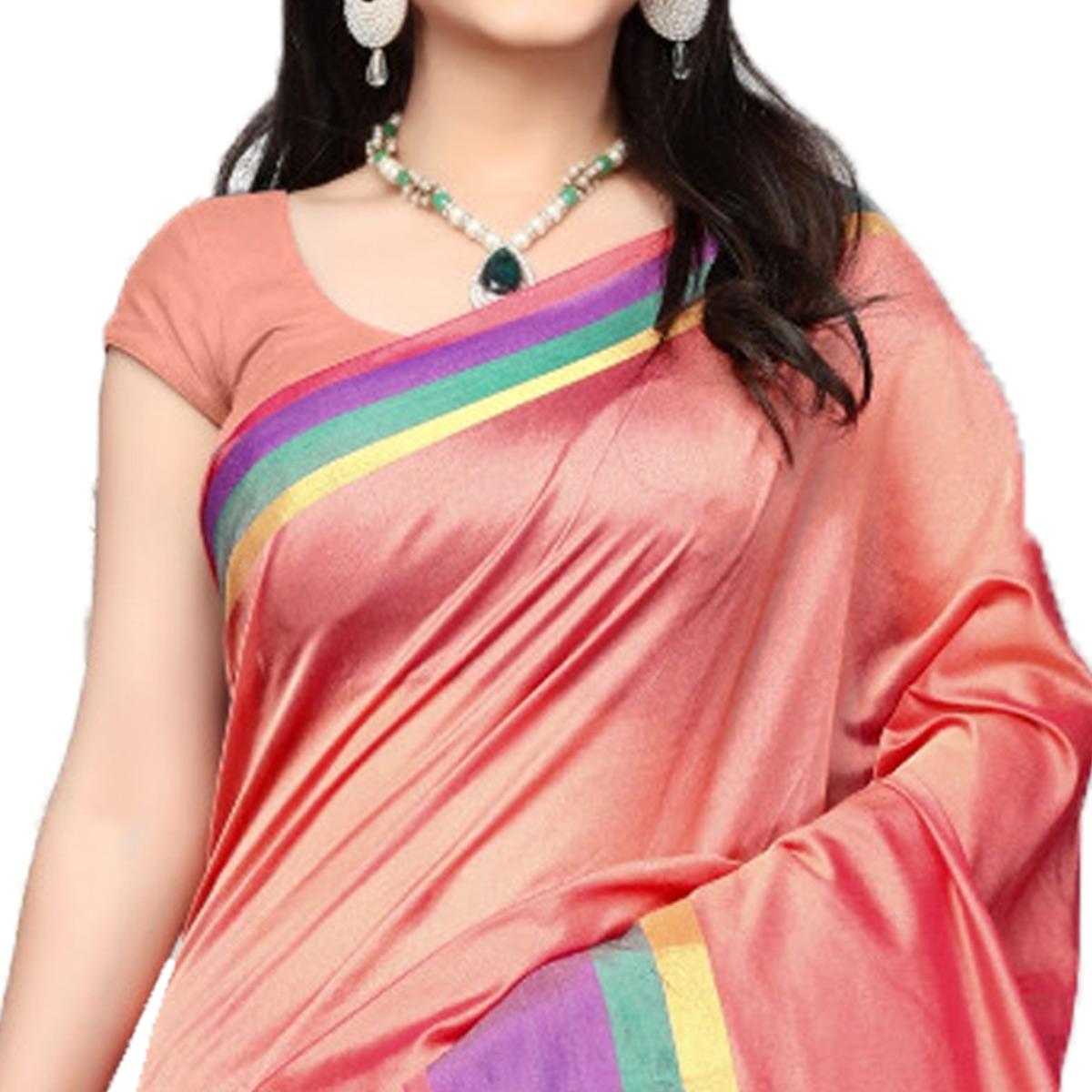 Precious Peach Colored Festive Wear Cotton Silk Saree