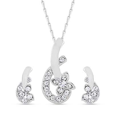 Rhodium plated stone pendant set with chain