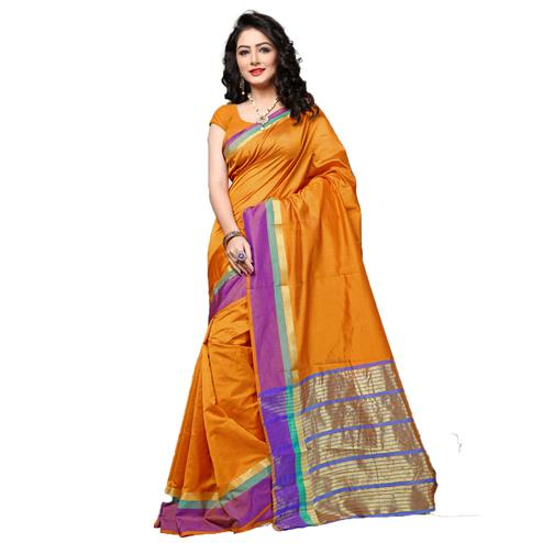 Glowing Orange Colored Festive Wear Cotton Silk Saree