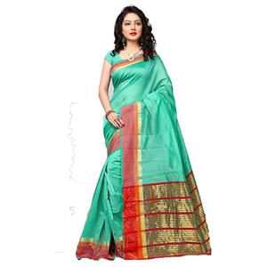 Tranquil Turquoise Colored Festive Wear Cotton Silk Saree