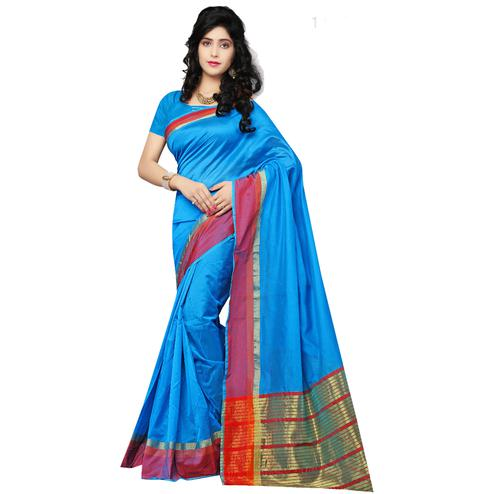 Ravishing Blue Colored Festive Wear Cotton Silk Saree