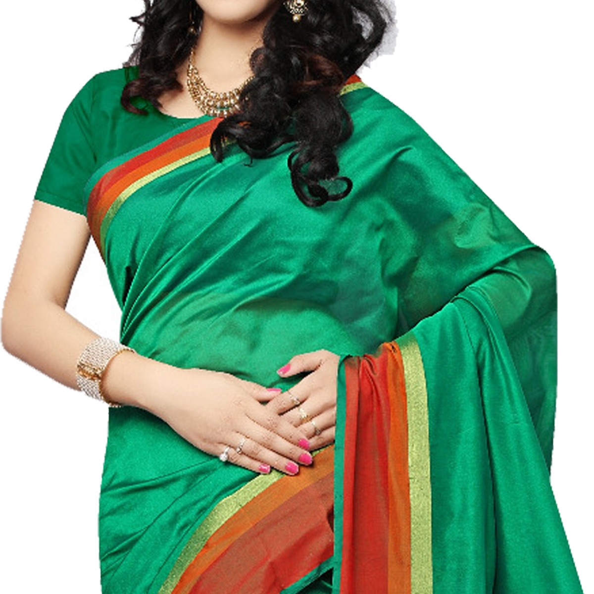 Adorning Green Colored Festive Wear Cotton Silk Saree