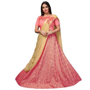 Magical Pink Colored Party Wear Designer Embroidered Jacquard Silk Lehenga Choli