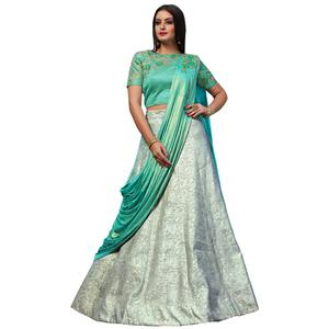 Rejuvenating Green Colored Party Wear Designer Embroidered Jacquard Silk Lehenga Choli