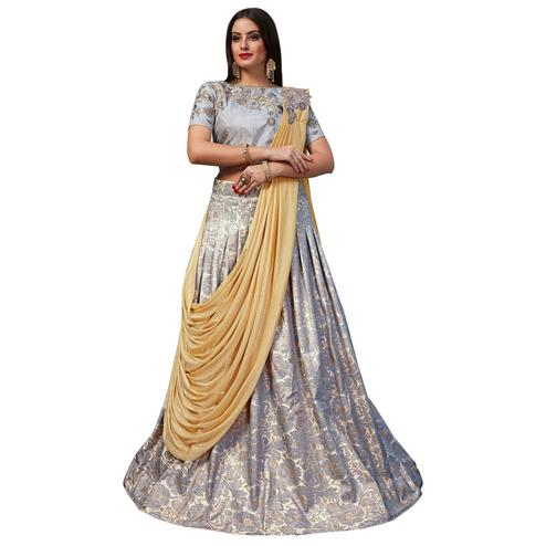 Glorious Grey Colored Party Wear Designer Embroidered Jacquard Silk Lehenga Choli