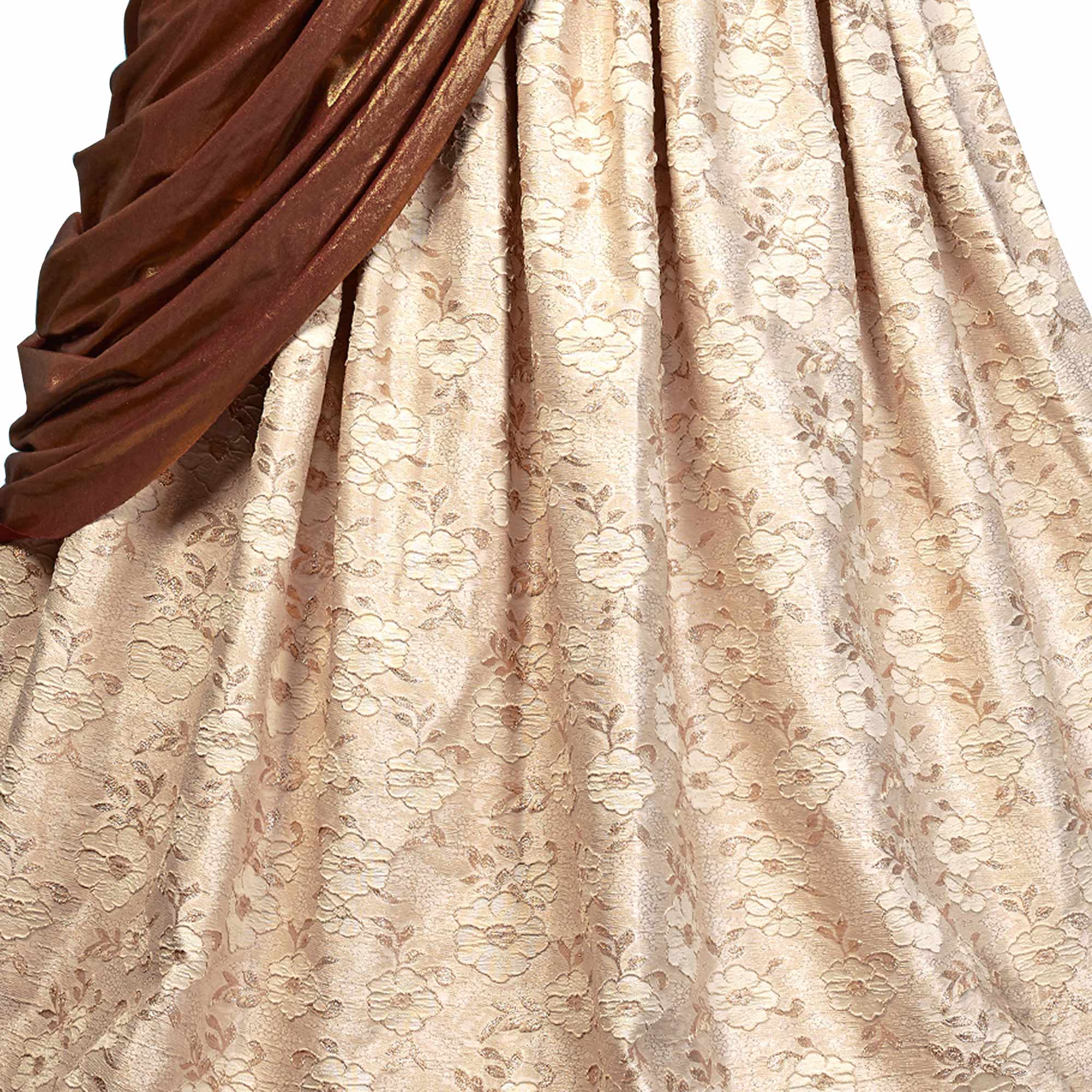 Classic Cream Colored Party Wear Designer Embroidered Jacquard Silk Lehenga Choli
