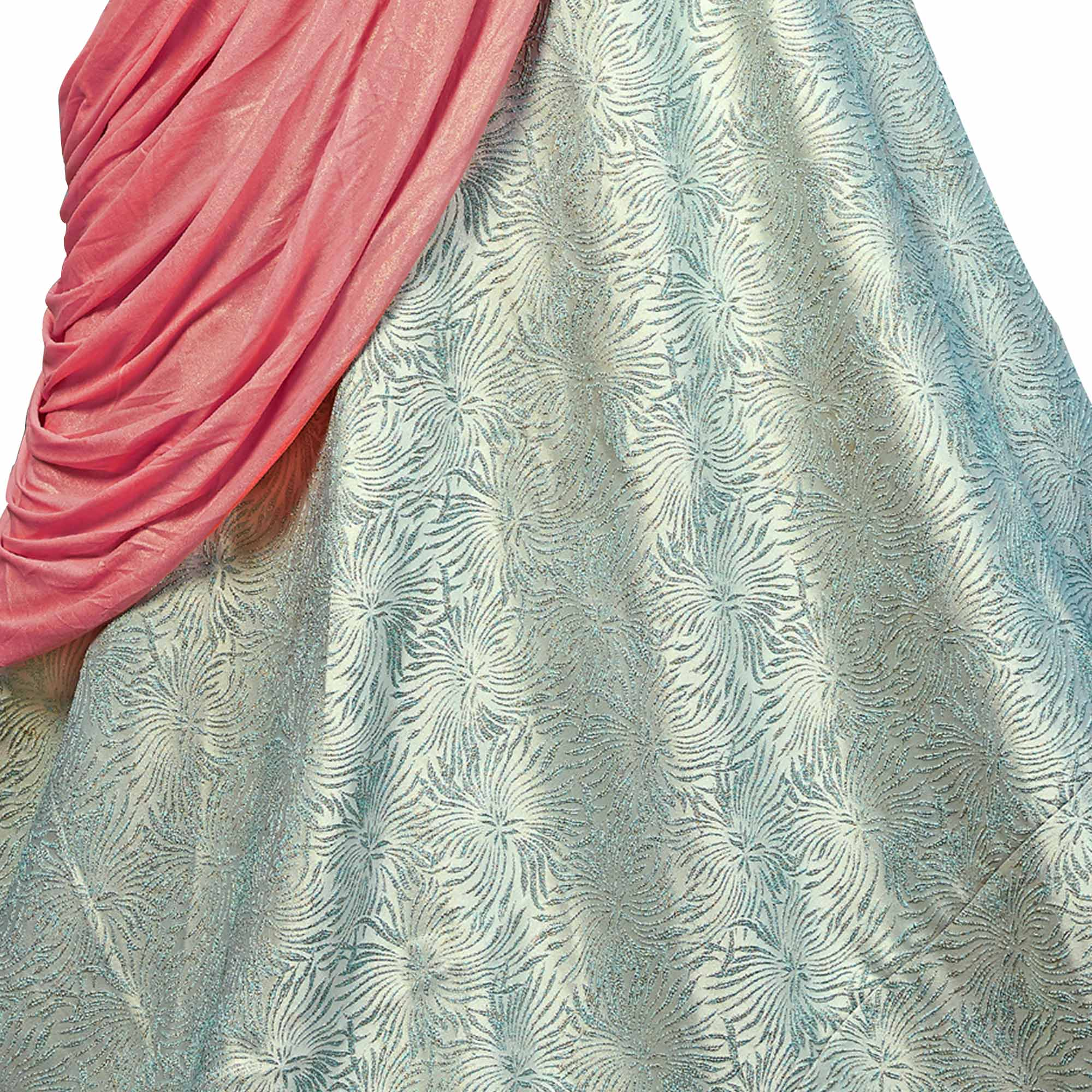 Tranquil Turquoise Green Colored Party Wear Designer Embroidered Jacquard Silk Lehenga Choli