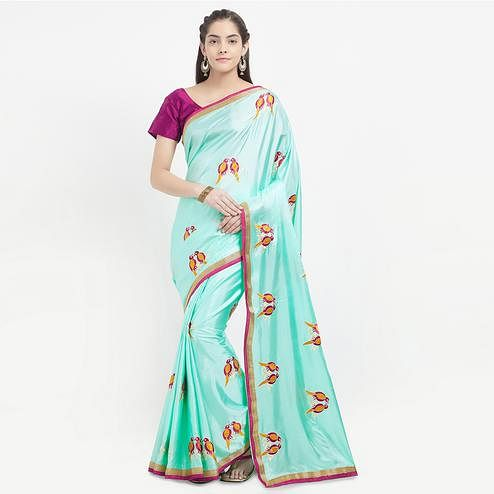 Beautiful Green Colored Embroidered Paper Silk Saree