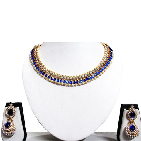 Dark Blue Pearl Gota Necklace Set