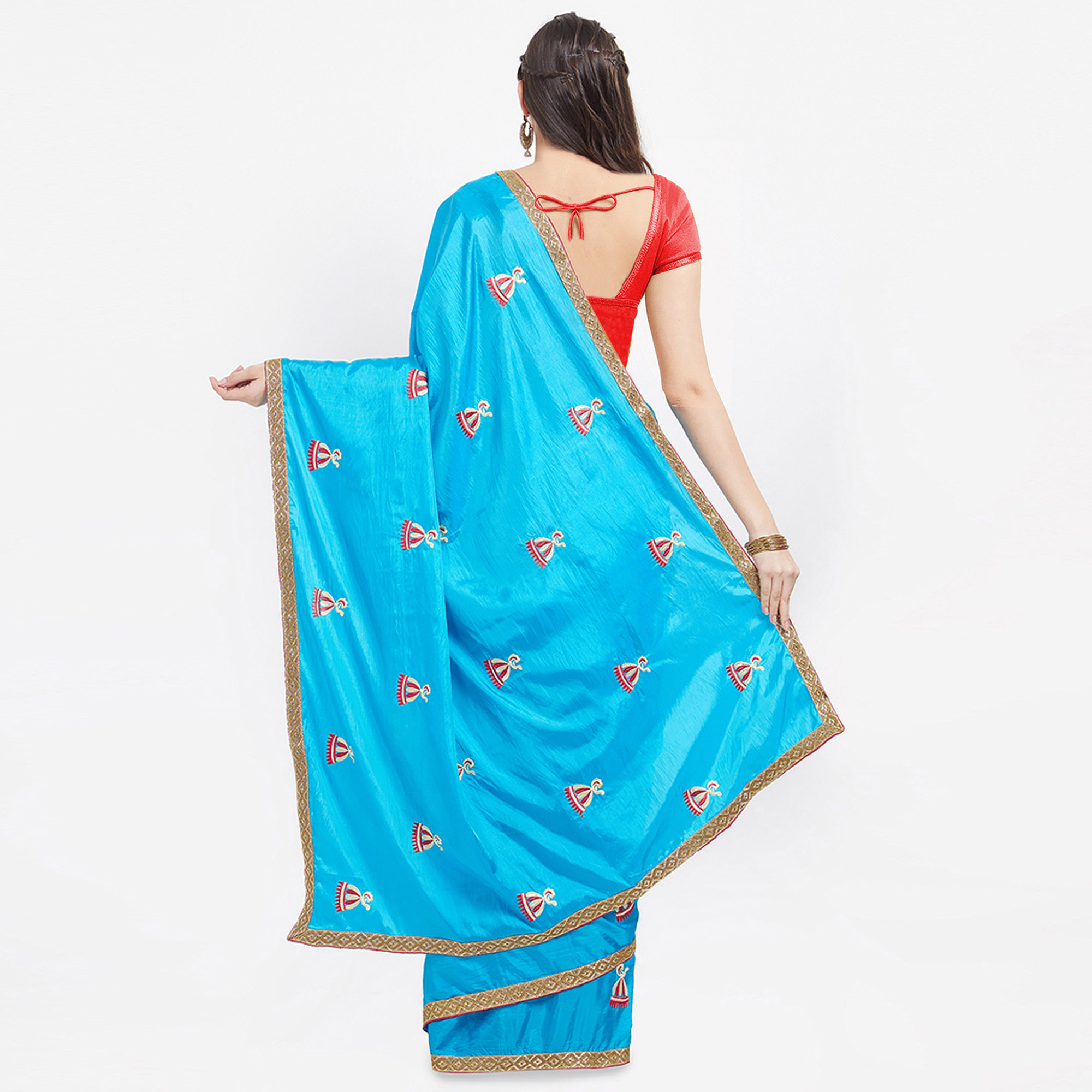 Blooming Blue Colored Embroidered Paper Silk Saree