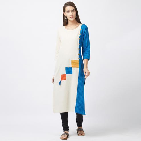 Beautiful Off White-Blue Designer Pure Handloom Cotton Kurti