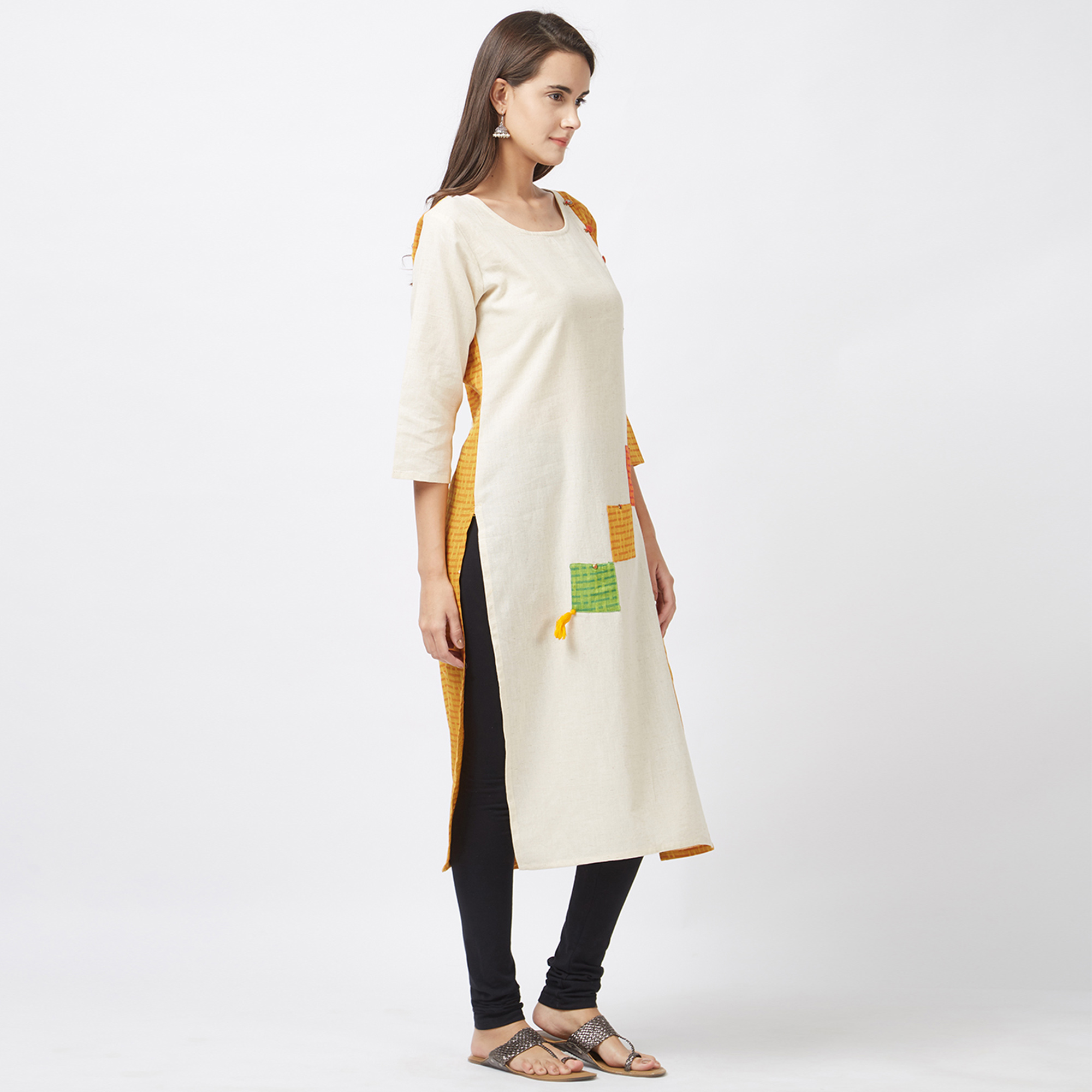 Lovely Off White-Yellow Designer Pure Handloom Cotton Kurti