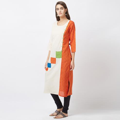 Stylish Off White-Orange Designer Kurti