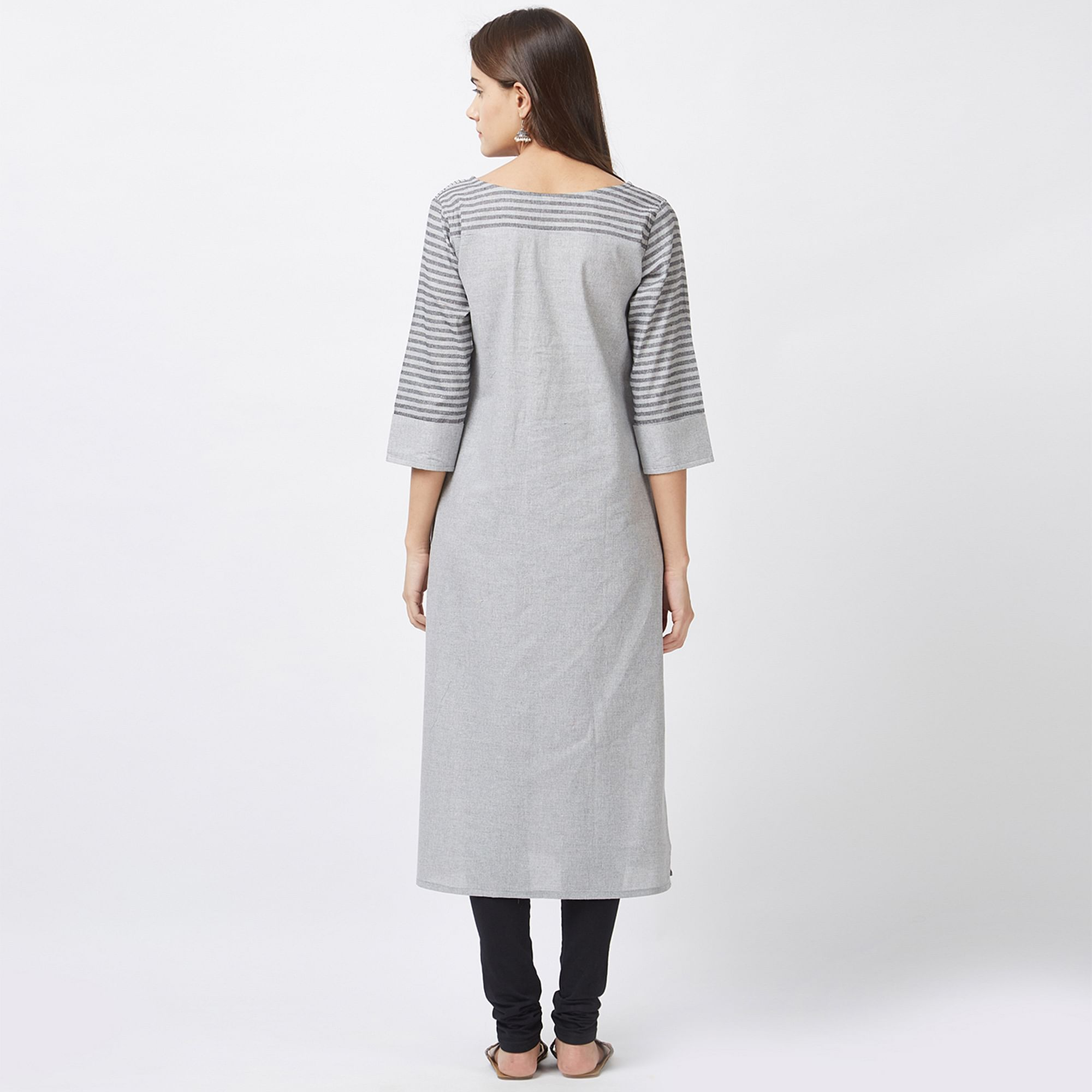 Graceful Gray Designer Pure Handloom Cotton Kurti