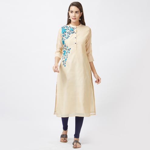 Attractive Cream Colored Designer Embroidered Pure Chanderi Kurti