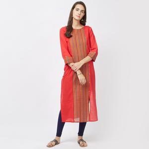 Adorable Red Designer Casual Pure Handloom Cotton Kurti