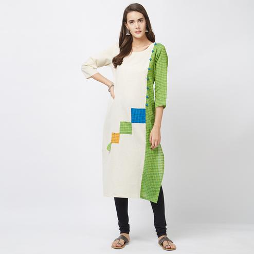 Cool Off White-Green Designer Pure Handloom Cotton Kurti