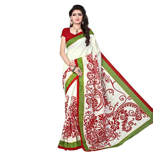 White - Red Mysore Art Silk Saree