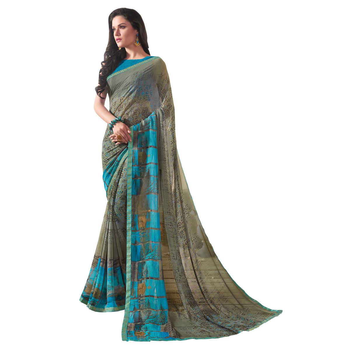 Trendy Gray Colored Casual Wear Printed Georgette Saree
