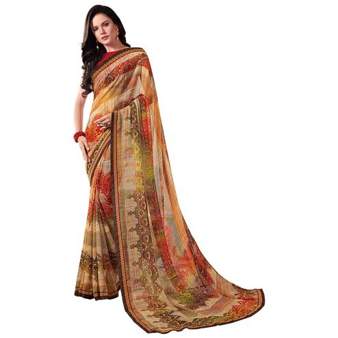 Arresting Multi Colored Casual Wear Printed Georgette Saree