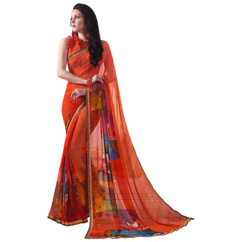 Gorgeous Orange Colored Casual Wear Printed Georgette Saree