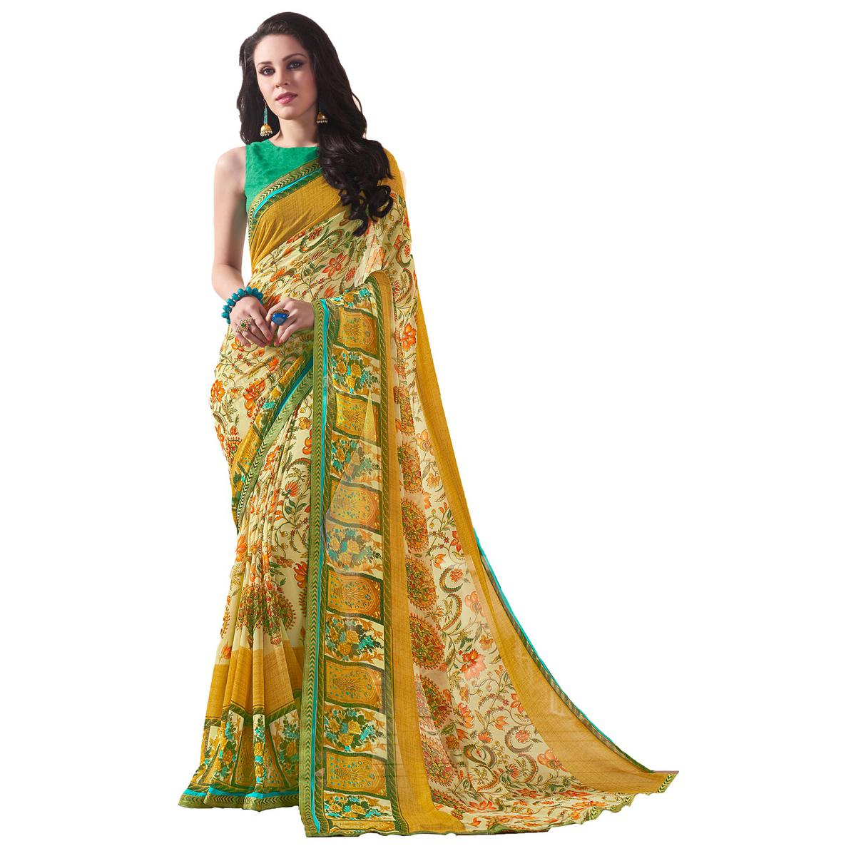 Desiring Yellow Colored Casual Wear Printed Georgette Saree