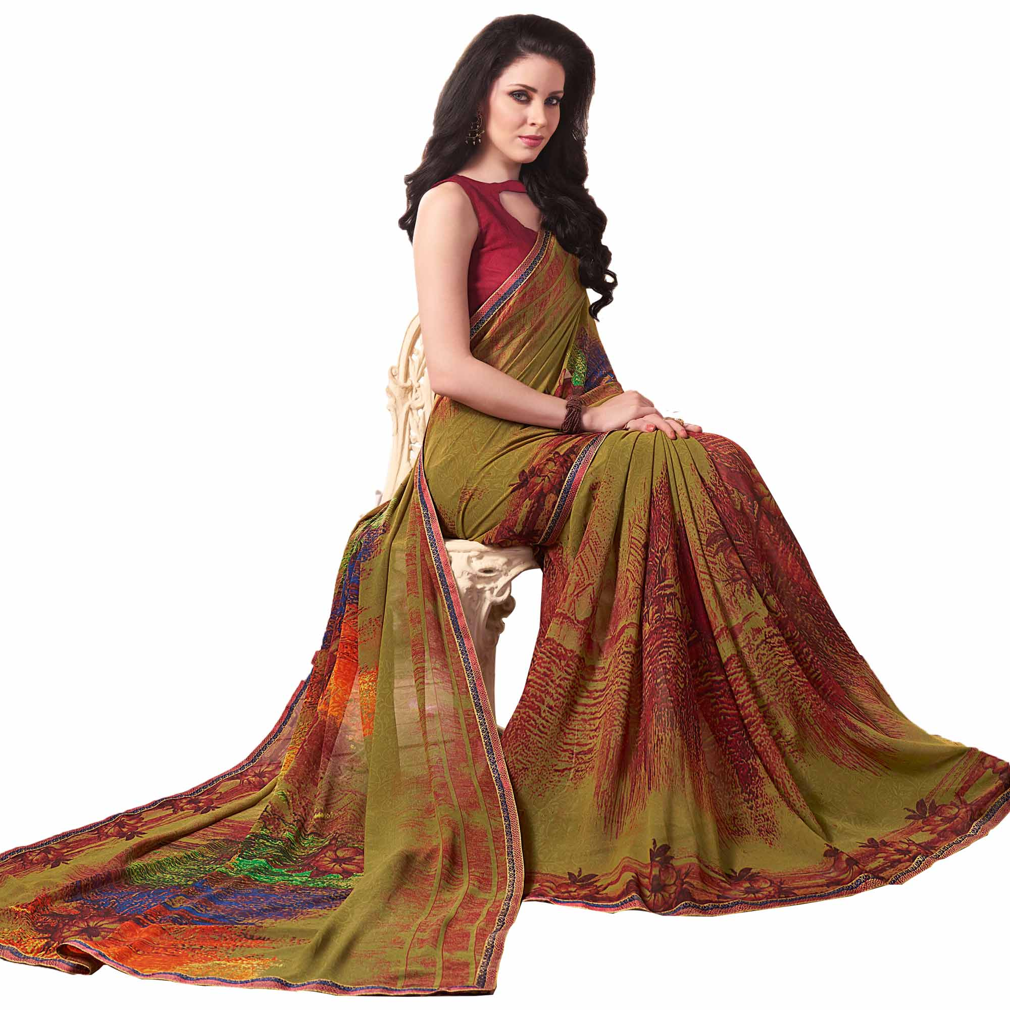 Exceptional Olive Green Colored Casual Wear Printed Georgette Saree