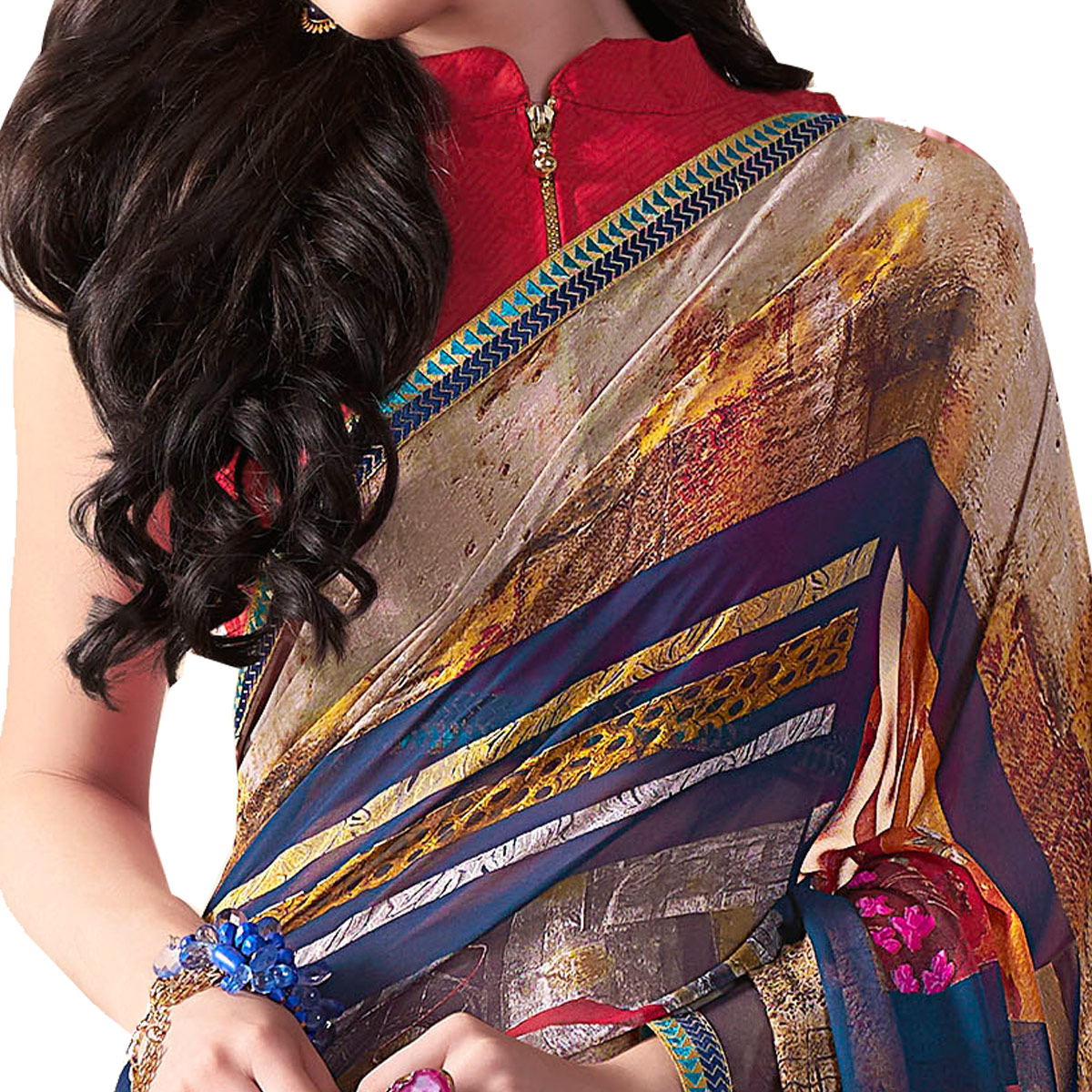 Excellent Multi Colored Casual Wear Printed Georgette Saree