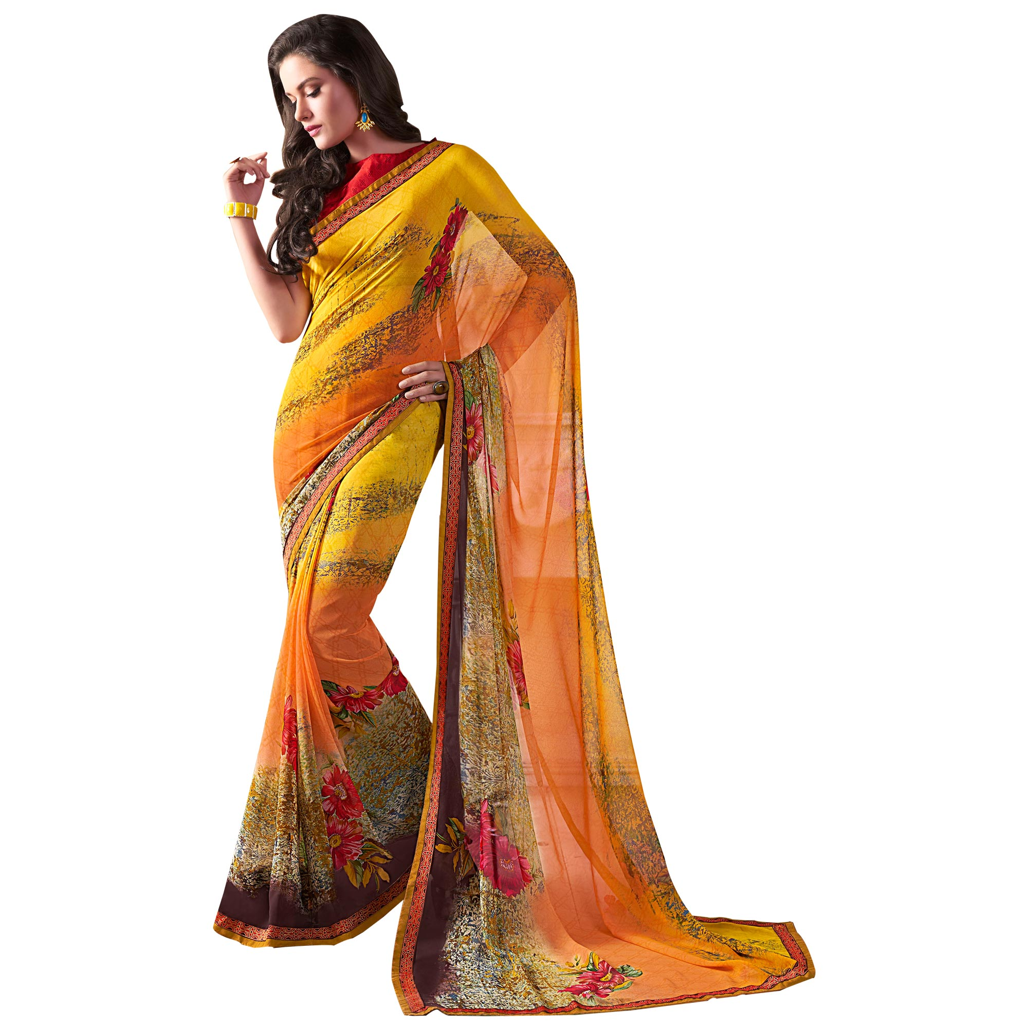 Beautiful Yellow Colored Casual Wear Printed Georgette Saree