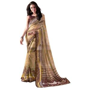 Pleasant Beige Colored Casual Wear Printed Georgette Saree