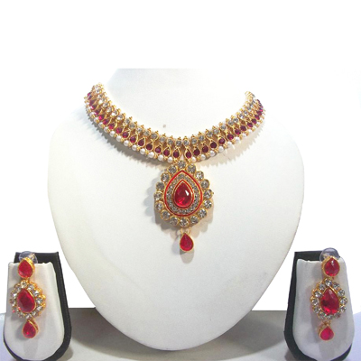 Red Pearl Bridal Necklace Set
