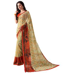 Awesome Yellow Colored Casual Wear Printed Georgette Saree